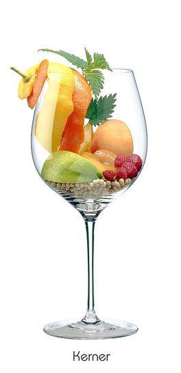 KERNER:  Orangen (Schale), Zitronen (Schale), Aprikose, Pfirsich, Apfel (grün), Walderdbeere, Pfeffer (weiß)