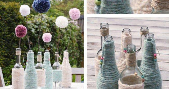 Fles, flessen met wol omwikkelen. wol, kralen, hennep touw, touw, recycle wijnflessen, pompon, decoratie, fles omwikkelen met wol