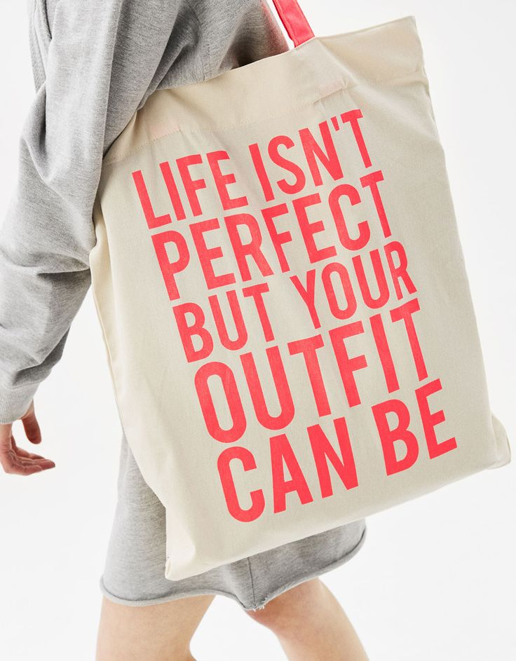 Printed tote bag - Bags - Bershka Czech Republic