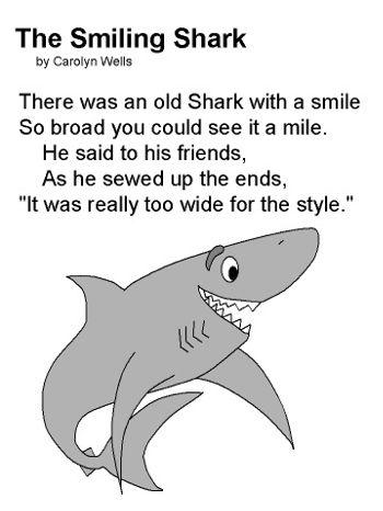 The smiling shark limerick poetry pinterest sharks for The fish poem
