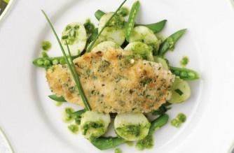Chicken schnitzel with pesto. Recipe by Woman's Weekly