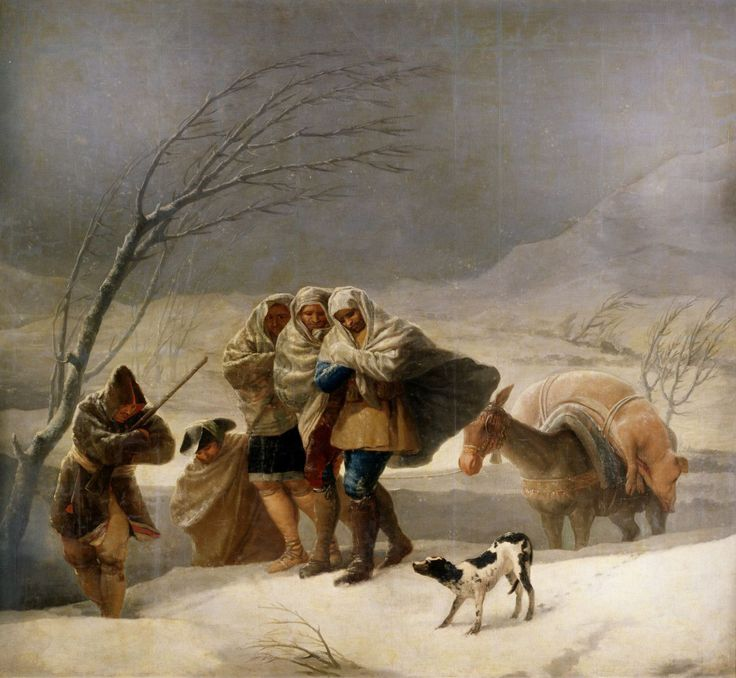 Francisco Goya (Spanish Romantic painter, 1746–1828) The Snowstorm (Winter), 1786-1787. Oil on canvas, 108.3 × 115.4 in (275 × 293 cm). Prado Museum, Madrid.