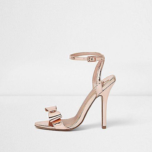 Goudkleurig metallic minimalistische sandalen met strik - sandalen - schoenen / laarzen - dames