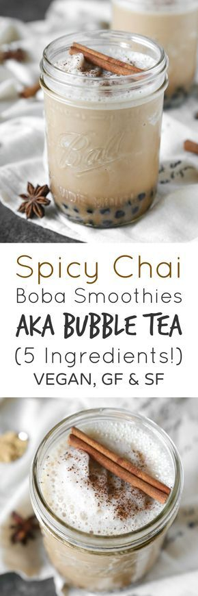 Spicy Chai Boba Smoothies aka Bubble Tea   Vegan, Gluten-Free, Sugar-Free   The Plant Philosophy