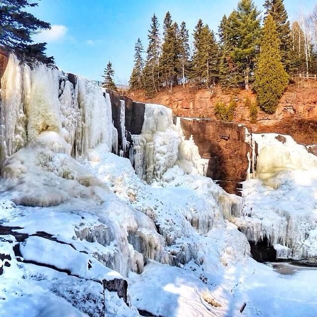 Frozen Gooseberry Falls along Minnesota's North Shore, by Instagrammer @eddieuuu071. Share your #midwestmoment with us: http://www.instagram.com/midwestlivingmag