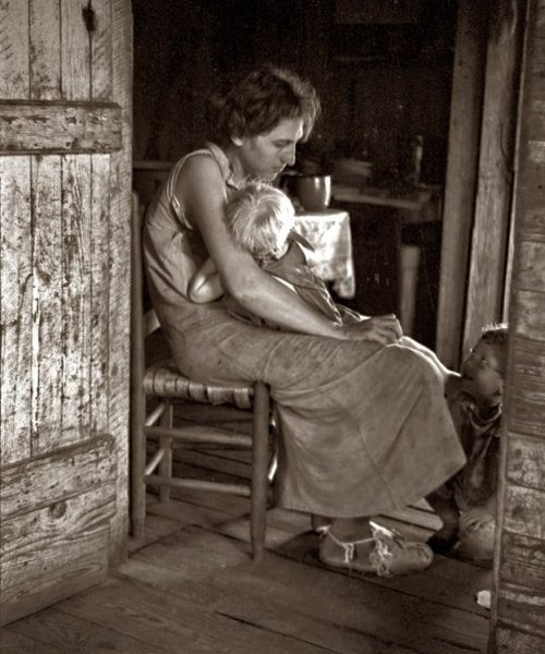 Lily Rogers Fields and two of her children, Hale County, Alabama, 1936 by Walker Evans