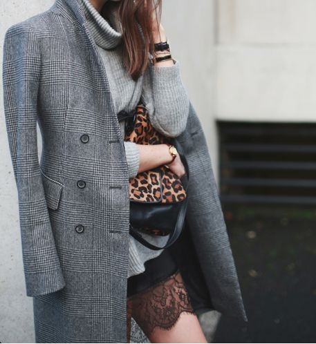 Stylabl StreetsBlack Lace, Leopards Clutches, Fashion, Wool Tweed, Street Style, The Offices, Leopards Prints, Coats
