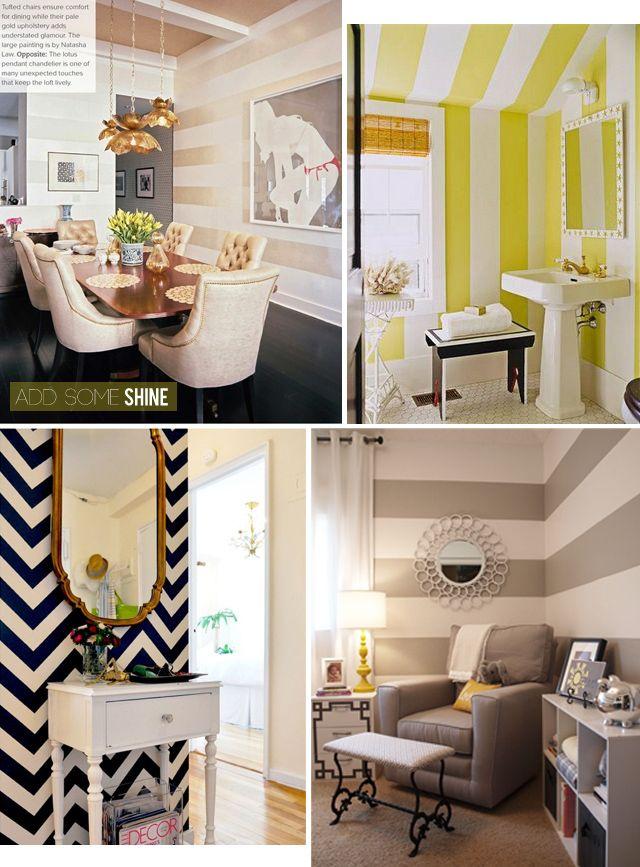 I want a stripe wall in my next house!  striped walls everywhere bathroom idea.
