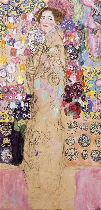 Portrait of Maria Munk (unfinished), 1917-1918 Gustav Klimt - by style - Japonism, Art Nouveau (Modern) - WikiArt.org
