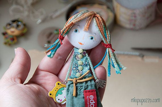 Art Doll Brooch Girl and her Froggy mixed media by miopupazzo,