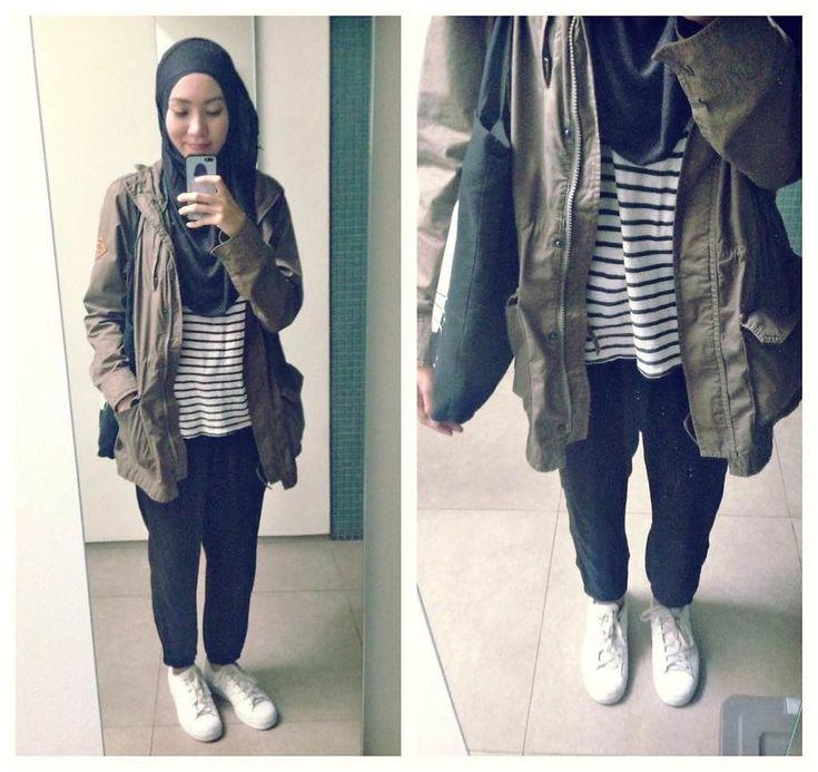 ootd. casual hiajb outfit parka, jogger pants, stripe shirt, white sneakers, adidas superstar, totebag, pashmina  Syaifiena W lookbook.nu/syaifiena
