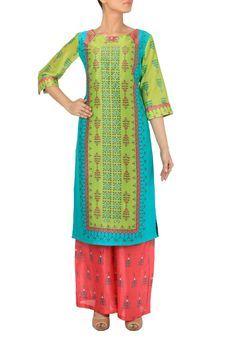 Lemon Green & Turquoise Blue Long Kurta With Coral Palazzo Pants Sst by SOUP, Kurta Suits   #kurta #casual #casualkurta #kurtadesign #wardrobestaples #wardrobeessentials #indian #ethnic #indiandresses #kurti #staple #everyday #daywear #essential #design #fashion