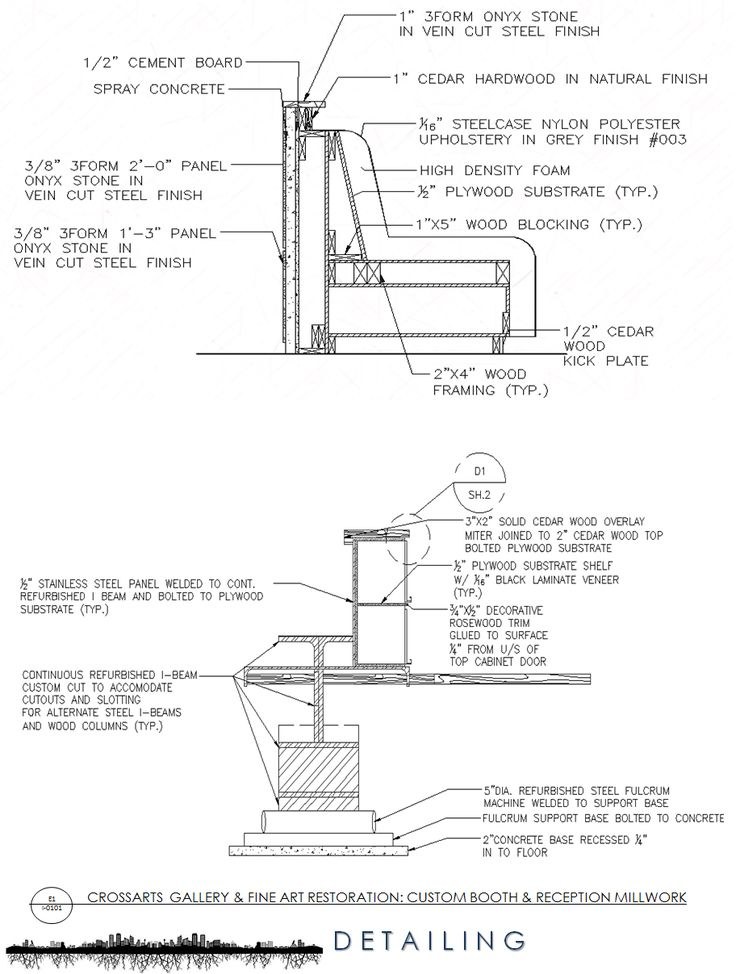 Section Detailing of Custom Reception Millwork (AutoCAD)