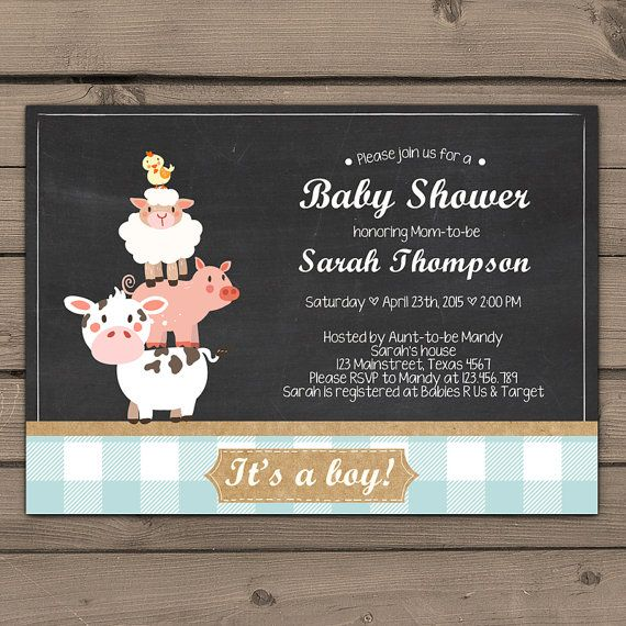 Farm Baby Shower invitation Blue Baby Shower by Anietillustration