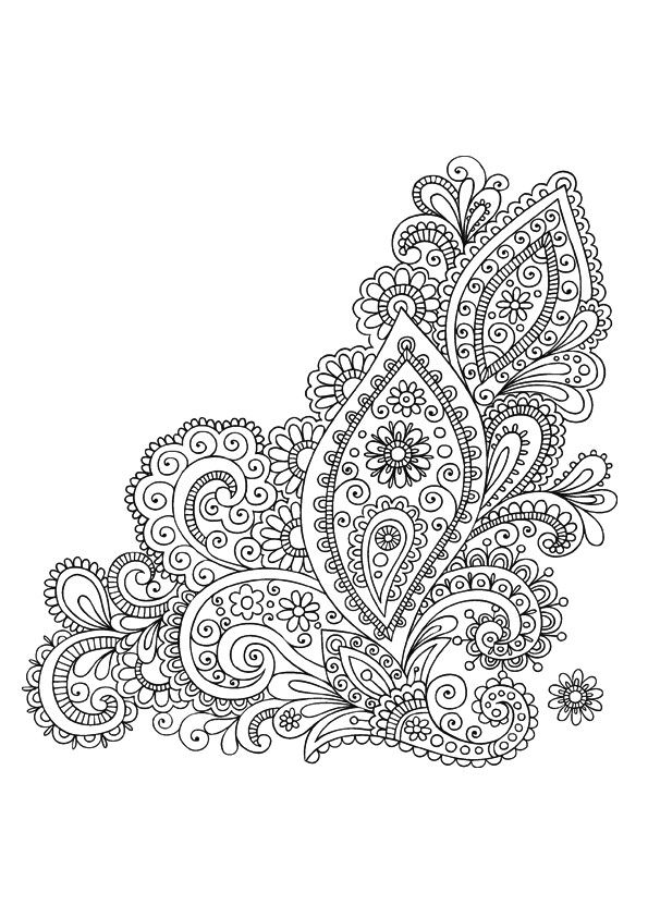 More Giant Paisley Adult Coloring Page 4
