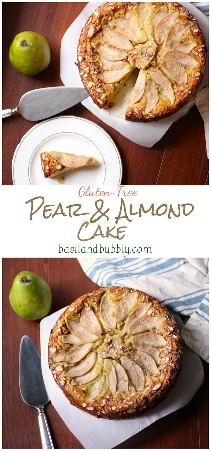 Rich and buttery Pear and Almond Cake is actually oil and butter free, gluten free, and dairy free.
