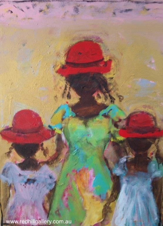 "John Maitland ""Red Hats"" 90x122cm. 61 Musgrave Road, Red Hill Brisbane, QLD, Australia. art@redhillgallery.com.au"