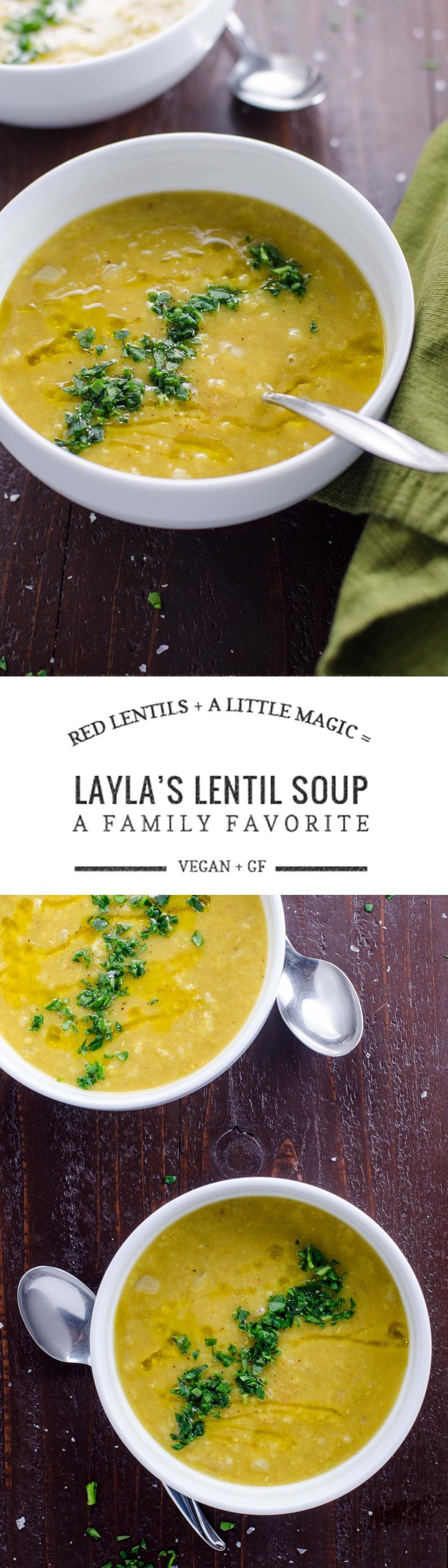 We've been eating my friend Layla's easy vegetarian red lentil soup for 20 years. It's great for you and wonderfully delicious. Vegan and gluten free.
