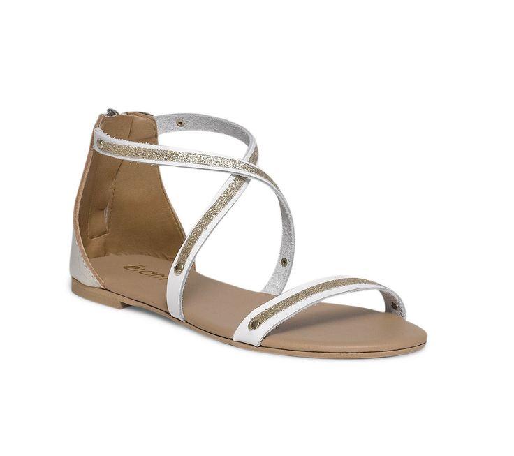 Sandale plate cuir blanche et dorée - Sandales plates - Chaussures femme