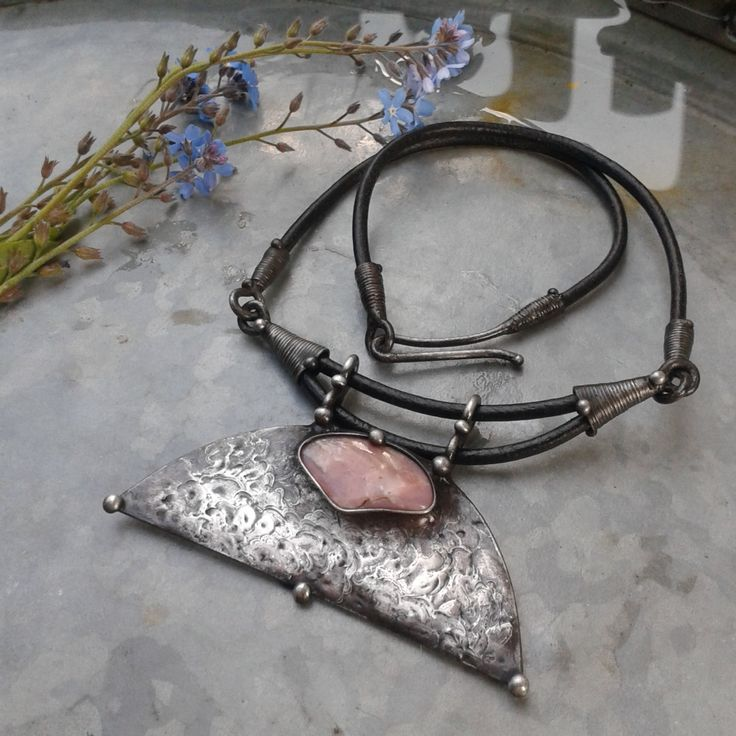 RESERVED Handmade Pink Opal Art Necklace on Leather Cord by TerezaOJewelry on Etsy https://www.etsy.com/listing/293397853/reserved-handmade-pink-opal-art-necklace