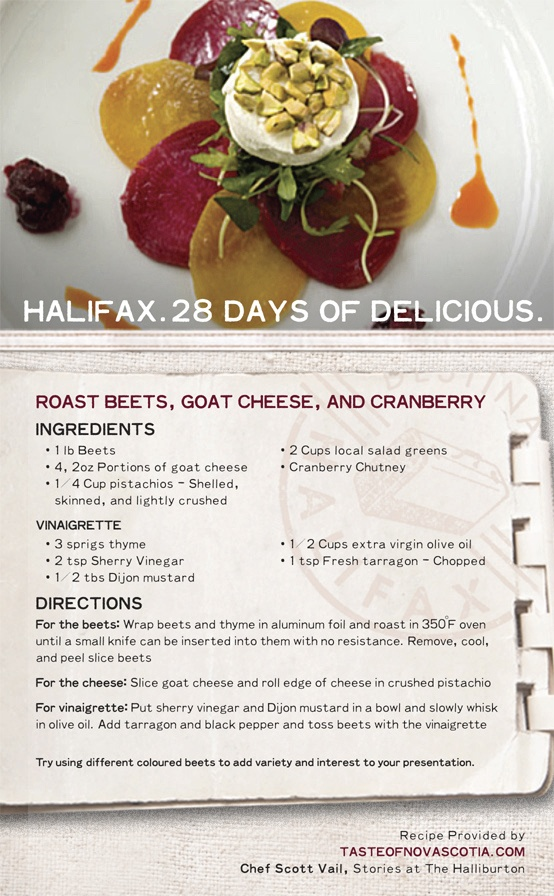 #Halifax restaurants, like Stories in The Halliburton Hotel, feature delicious #NovaScotia cuisine from talented chefs. Bring a little oomph to your first course with this savory and sweet #recipe including beets, goat cheese, pistachios, and cranberry chutney.