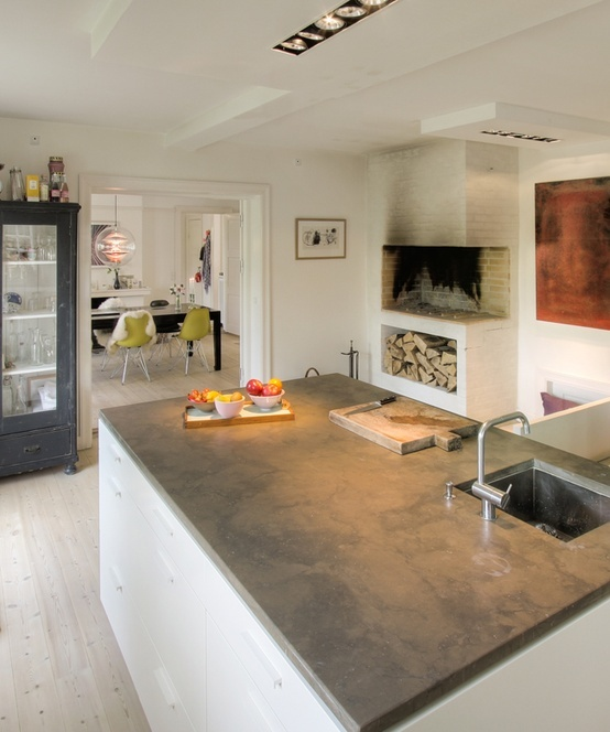 fire place and concrete countertop