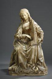 Sainte Cécile en albâtre sculpté en ronde-bosse | Daguerre