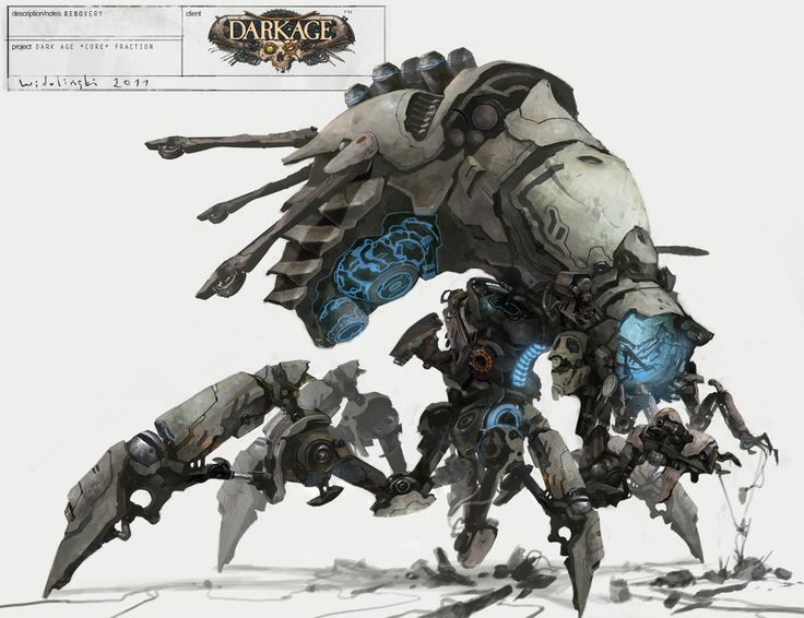 i love the mixture of clean, smooth robotic surfaces and the over all dirtiness of a skittering insect. definiately a C'tan like creation.
