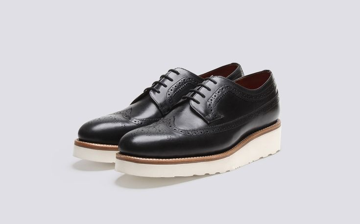 Womens Brogue in Black Colorado Leather with a White Wedge Sole | Agnes | Grenson Shoes - Three Quarter View