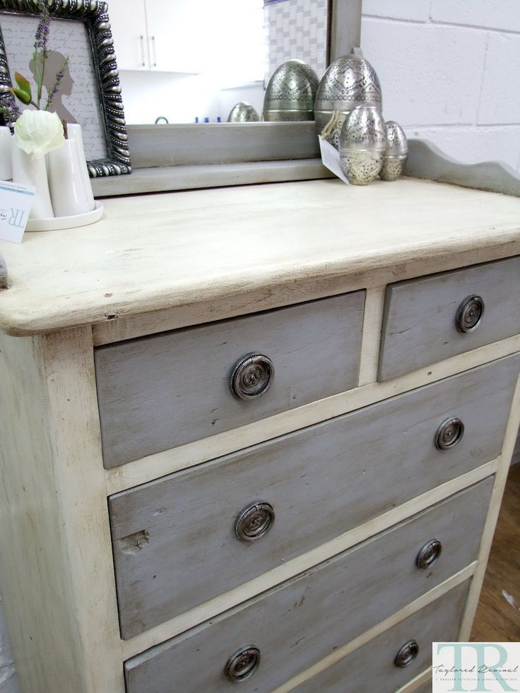 chalk paint...white with grey drawers...                                                                                                                                                     More
