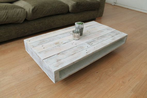 Pallet Coffee Table on Wheels with a Whitewash by GasandAirStudios