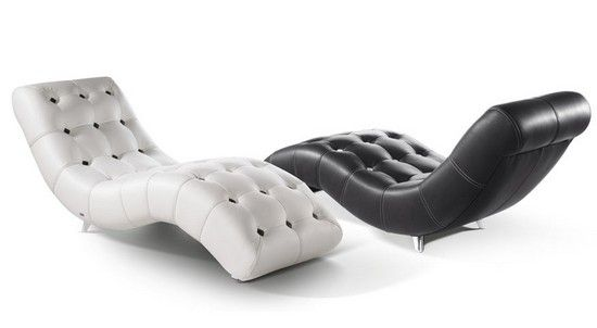 Modern Tufted Chaise Lounge Chairs With Black White U0026 Leather .