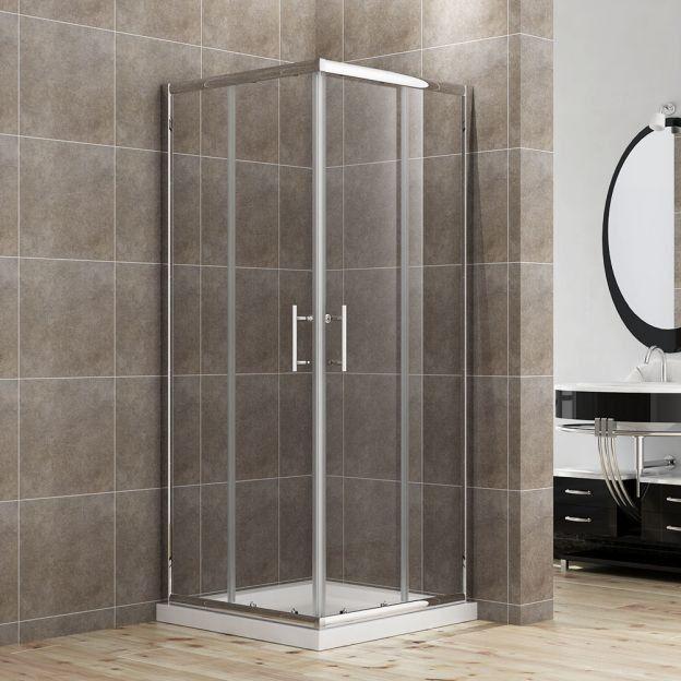 Square Corner Entry Shower Cabin In 2020 Bathroom Design Small Modern Frameless Glass Shower Enclosure Glass Shower Enclosures