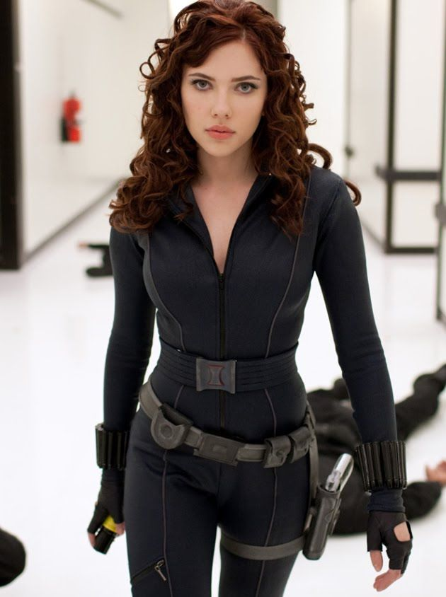 After seeing The Avengers, I am extremely impressed with Black Widow. The Iron Man 2 costume is fairly simple, fabric with lots of piping, leg pocket, bullets around the wrists, Black Widow symbol on the belt, toolbelt, fingerless gloves, and pistol.