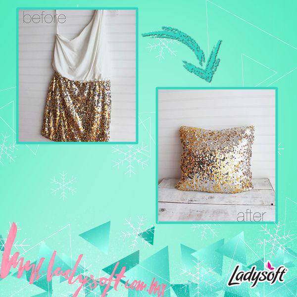 ¡Dale una segunda oportunidad a un vestido que ya no uses!  Conviértelo en una glamurosa almohada.  ¿Te gusta la idea? :)