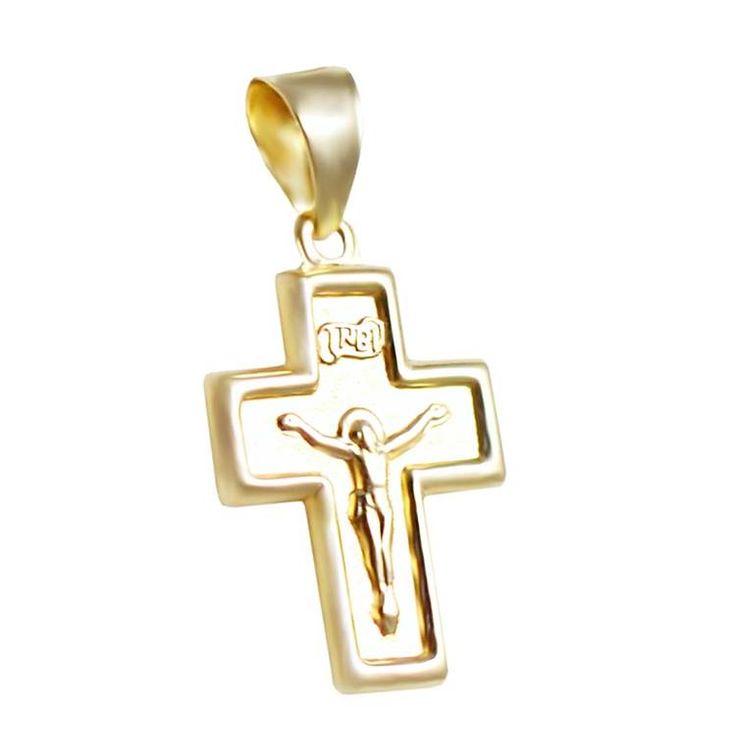 ΣΤ650Ζ- Χρυσός βαπτιστικός σταυρός με Εσταυρωμένο