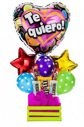 """Un """"Te Quiero"""" plasmado en globos.  https://azapregalos.com/florerias/df/globos/arreglo-de-globos-te-quiero-corazones-coloridos"""