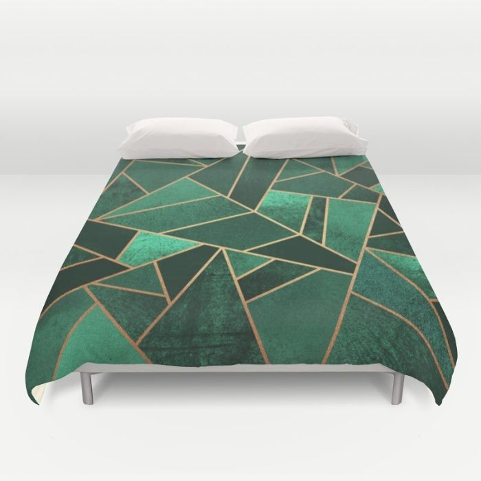 Emerald and Copper Duvet Cover by Elisabeth Fredriksson | Society6