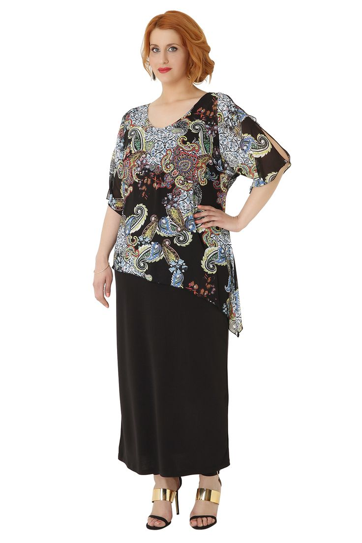 Jersey maxi dress in a straight line with chiffon paisley printed tunic. The tunic has asymmetric hem and flare sleeves with elegant slits.The perfect choice for special occassions!