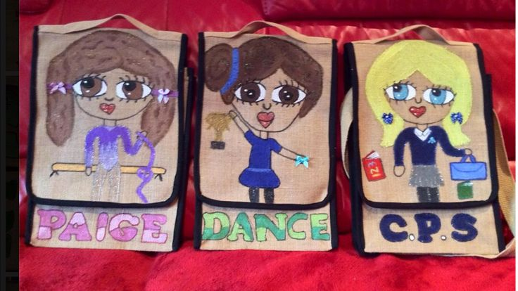 Handmade personalised jute bags for junior/adults. You design them il personalise them any design your choice.