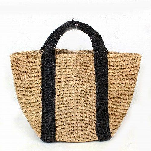 ラフィアかぎ編みバッグ 正方形トート 紅茶xブラック