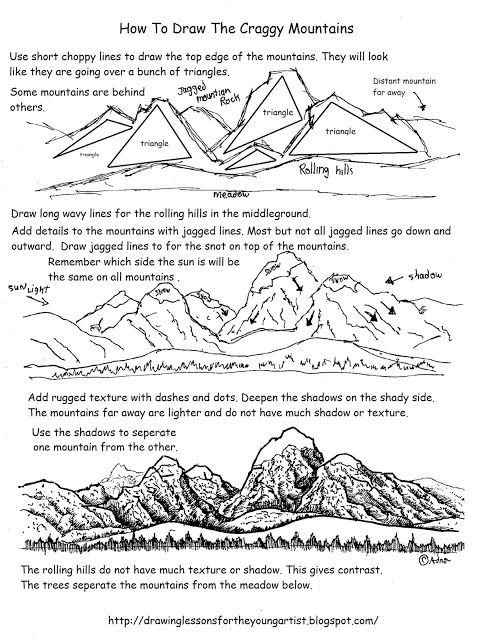 How To Draw Craggy Distant Mountains