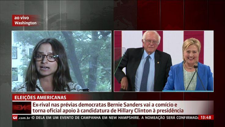 O senador Bernie Sanders participou pela primeira vez de um ato de campanha de Hillary Clinton. Ele tornou oficial o apoio à candidatura da ex-secretária de Estado na corrida à Casa Branca.
