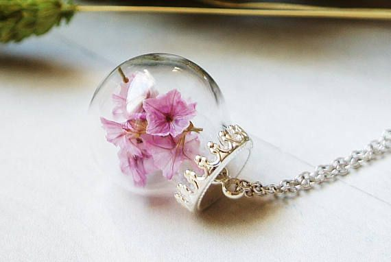 Cherry blossom Terrarium Necklace Pink flower Flower
