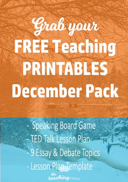 Want free teaching, motivational and organizational printables? Free English class resources? Free templates for English class? The free printables library is updated every month. December's pack is ready to download! Head to www.teachingcove.com/printables-library to sign up!