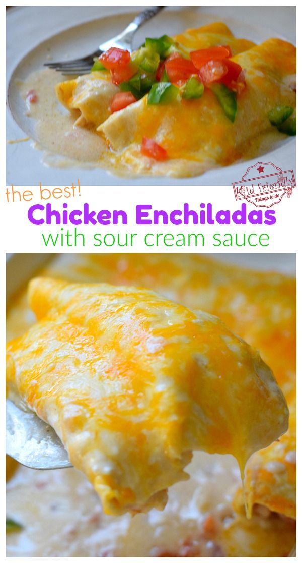 Creamy Chicken Enchiladas With Sour Cream Sauce The Best With Video Kid Friendly Things To Do Recipe In 2020 Sour Cream Sauce Creamy Chicken Recipes Chicken Enchiladas
