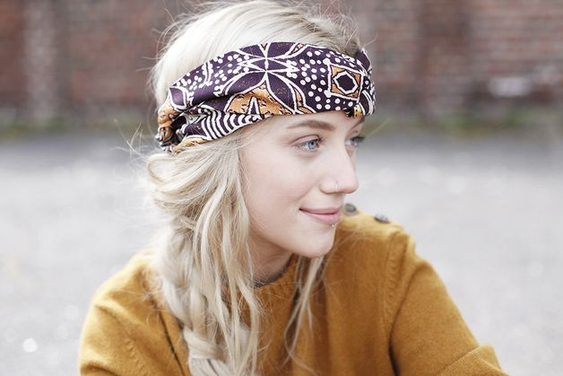 Earthy colours  at DaWanda Headscarves – Turban headband, boho print, hair accessories for festival season a unique product by pikfine via en.dawanda.com