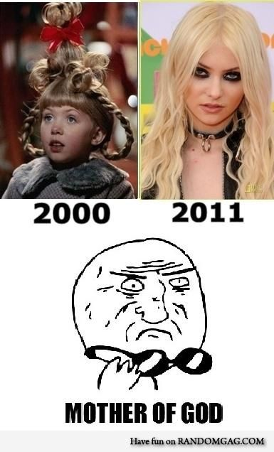 Taylor Momsen was the actress who played Cindy Lou Who in The Grinch, now she's in a band called The Pretty Reckless.