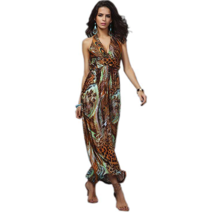 Платье бандажное богемный без рукавов лето, элегантный длинная платья Colorful принт женщины сексуальный с v-образным вырезом приталенный винтажный пляж платья