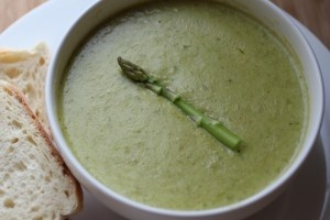 Asparagus Brie Soup... with a bottle of white wine.